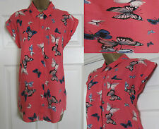 NEW EX Oasis Top Blouse Shirt Butterfly Print Smart Casual Coral Pink 8-16 £36