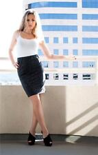 Charcoal Retro Pinup Leopard Print Knit Pencil Skirt