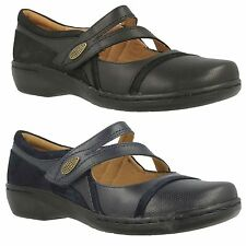 EVIANNA CROWN LADIES CLARKS LEATHER MARY JANE LIGHT WEIGHT RIPTAPE CASUAL SHOES