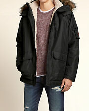 Abercrombie & Fitch - Hollister Mens Jacket Hooded Sherpa M L XL Black NWT