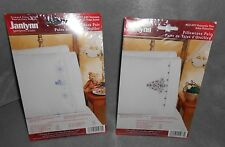 2005 JANLYNN STAMPED CROSS STITCH CHRISTMAS PILLOWCASE PAIR, POINSETTIA TREE
