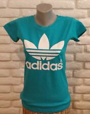 Brand New Women Blue T-Shirt Adidas White Logo S/M/L/XL no Tag Free Shipping