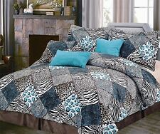 NEW Twin Full Queen Bed 7 pc Leopard Zebra Black Blue Faux Fur Comforter Set NWT
