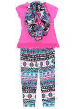 Big Girls 3 Piece Clothing Set Graphic Tee Jogger Pants and Scarf