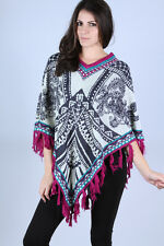 NWOT- Flying Tomato Multi Color Printed Knit Poncho Sweater w/ Fringe- ALL SIZES