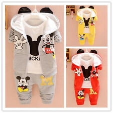 3pcs Newborn Baby Boy Girl Mickey Mouse Coat+T-shirt Tops+Pants Set Kids Outfits