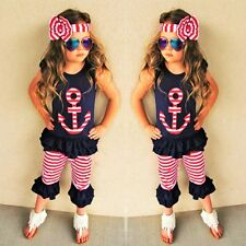 Toddler Kids Baby Girl Outfits Clothes Vest T-shirt Tops+Pants+Headband 3PCS Set
