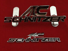 AC SCHNITZER  FRONT AND REAR METAL BADGE SET BLACK FITS ALL BMW FREE POSTAGE