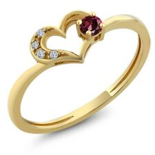 Women's Round Red Rhodolite Garnet 10K Yellow Gold Diamond Ring