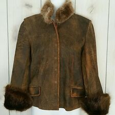 Womens Leather Jacket Hoss Couture Leather Beaver Fur Coat Size S, M - NWT
