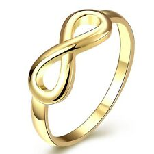 Fashion Jewelry 18k Yellow Gold Filled Womens Rings CZ Wedding Gift NEW