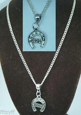 "18"" 24 Inch Chain Necklace & Good Luck Horseshoe Pendant Horse Shoe Lucky Gift"