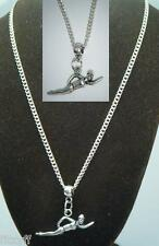 """18"""" or 24 Inch Chain Necklace & Swimmer Pendant Swim Swimming Charm Gift"""