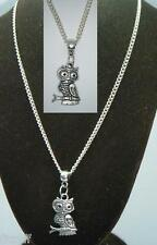 "18"" or 24 Inch Chain Necklace & Owl Pendant Charm Strigiformes Bird of Prey"