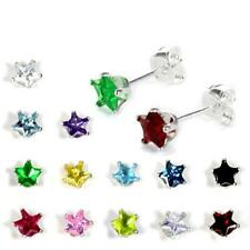 925 Real Sterling Silver 4mm Star Cubic Zirconia CZ Crystal Stud Studs Earrings