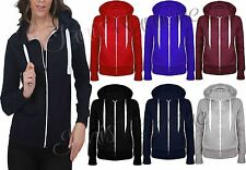 New Womens Fleece Plain Zip Hoodie Sweatshirt Thick Drawcord Hooded Jacket Coat