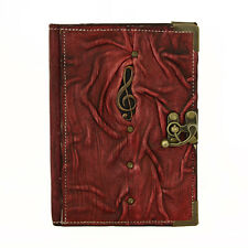 Solo Music Purple Refillable Leather Journal Notebook Diary Sketchbook Handmade