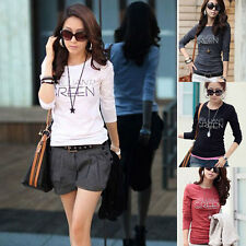 Womens Letter Print Cotton Slim Fit Crew Neck Long Sleeve Bottoming T-Shirt Tops