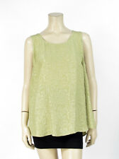 NWT Citron Clothing 100% Silk Olive Green Floral Texture Tank Top Blouse