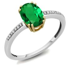 Women's Oval Simulated Emerald 10K Two Tone Gold Diamond Ring (Size 5,6,7,8,9)