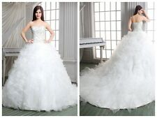 In Stock Ivory Organza Beading Bridal Wedding Dresses Gown Size 6 8 10 12 14 16