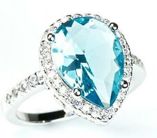 Pear Cut Blue & White Topaz Sterling Silver CZ Halo Cocktail Ring Anniversary