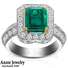 Platinum Genuine Colombian Emerald 2.90ctw and Diamond Ring #R1947