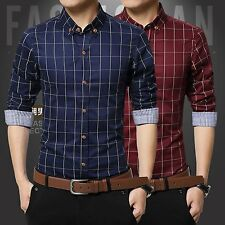 Fashion Mens Plaid Casual Shirt Slim Fit Stylish Dress Shirts Long Sleeve Tops