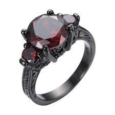 Size 5-10 Red Ruby Garnet Band Women's 10KT Black Gold Filled Wedding Party Ring
