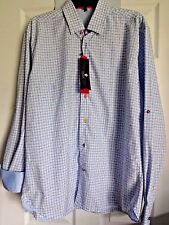 Visconti Signature Mens Dress Shirt Blue Checked Contrast Cuff Cotton NWT