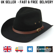 Adult Wide Brim Black Cotton Stetson Style Cowboy Hat 3 sizes FREE  fast post
