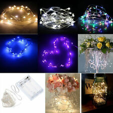 2/5/10M Button Battery Operated LED Copper Wire String Fairy Lights Party QT