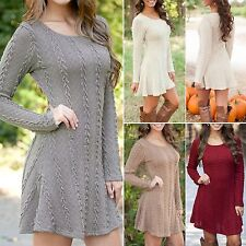 Sexy Women Long Sleeve Knitted Tunic Mini Dress Jumper Top Sweater Slim Clubwear