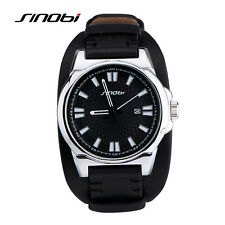Mens Military Watches for Luxury Brand Waterproof Sports Leather Wrist Watch