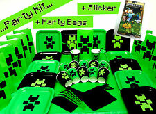 Birthday Party Kit3 Plates Cups Party Bags with Official Minecraft Sticker