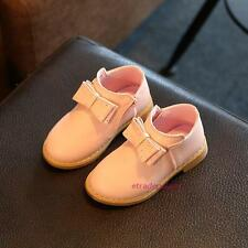 New Toddlers Kids Girls Leather Shoes Fall Winter Bow Princess School Sweet Flat