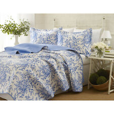 3-piece Reversible Quilt Set Bed Blanket Sham Cotton Floral Pattern Duvet Cover