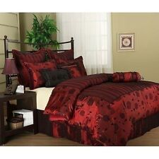 NEW Queen King Bed Black Red Floral Stripe 7 pc Comforter Pillows Set Modern NWT