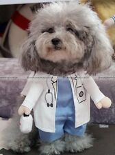 Cute Pet Dog Cat Costume White Clothes Halloween Cosplay DOCTOR S-XL S3