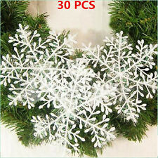 30pcs White Snowflake Christmas Tree Decorations Home Festival Decor Ornaments