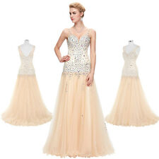 Sexy Beaded Ball Evening Prom Party Luxury Dress Bridesmaid Banquet Wedding Gown