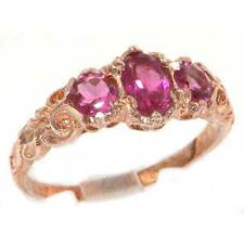 Womens Solid 14K Rose Gold Natural Pink Tourmaline Victorian Style Trilogy Ring
