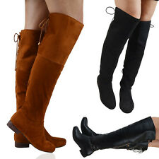NEW WOMENS THIGH HIGH FLAT HEEL LADIES LACE UP OVER THE KNEE HIGH BOOTS SIZE