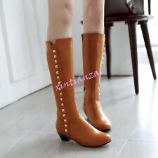 Womens Knee High Low Heels Rivet Boots Pull On Shoes Classic Riding Plus Size
