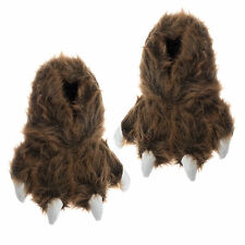 Wishpets Brown Grizzly Bear Animal Paw Plush Fuzzy Slippers