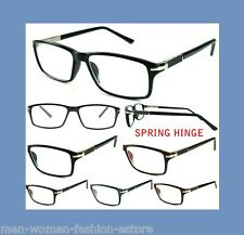 MEN'S WOMEN'S HIGH QUALITY SPRING HINGE METAL PLASTIC READING GLASSES CLEAR LENS