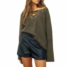 New Women Lacing Front Loose Sweater Pullover Jumper Knitted Tops Outwear Coat