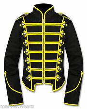 Men's Handmade Black/Yellow Military Marching Band Drummer Jacket New Style