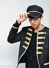 Men New Military Design Gold Piping Embroidery Black Napoleon Blazer Jacket