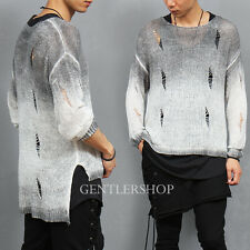 Men's Fashion Split Side Damaged Gray Gradation Knit Jumper Sweater, GENTLERSHOP